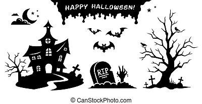 halloween., 装飾, セット, 黒, ベクトル, シルエット