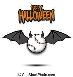 halloween., 野球, 翼, 角, 幸せ, ボール