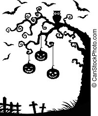 halloween, 배경, 와, 죽는 나무