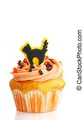 halloween, 사탕, 고양이, 검정, 서리로 덥음, 컵케이크