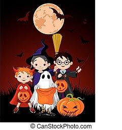 halloween, 아이들, 문장의 선화, 또는, treati