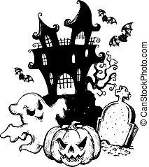halloween, 주제, 그림, 1