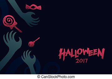 Halloween 2017 background template set, devil monster hand...
