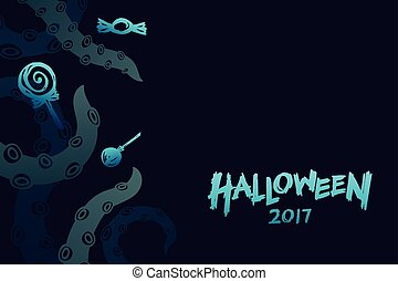 Halloween 2017 background template set, kraken monster...