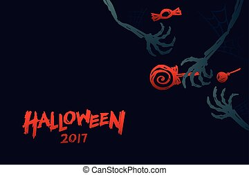 Halloween 2017 background template set, skeleton monster...