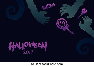 Halloween 2017 background template set, werewolves monster...