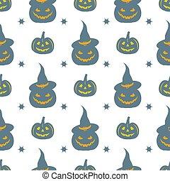 Halloween 2019 vector seamless pattern. Pumpkins.