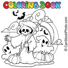 halloween, 3, coloration, caractère, livre