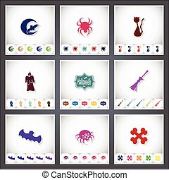Halloween. A set of flat stickers with shadow on white background