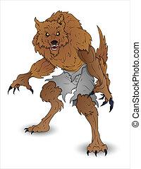 halloween, abbildung, werwolf
