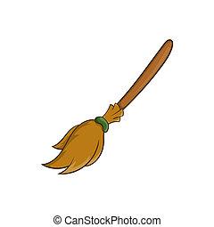 Halloween accessory broom icon, cartoon style