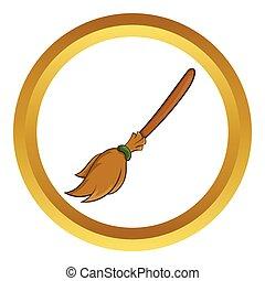 Halloween accessory broom vector icon