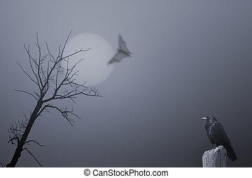 halloween, achtergrond, met, dode boom, en, kraai