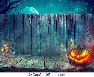 halloween, achtergrond, met, pompoen