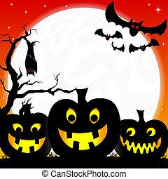 halloween, achtergrond, met, pompoennen, volle maan, en,...