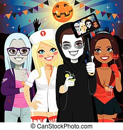 Halloween Adult Party Selfie - Small group of young adult ...