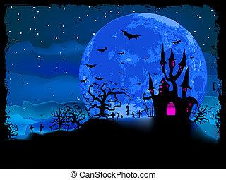 halloween, afisz, z, zombie, tło., eps, 8