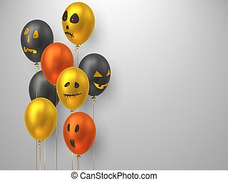 Halloween air balloons with monster faces.