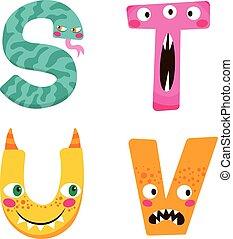 halloween, alfabet, monster