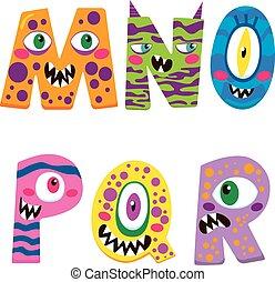 halloween, alfabet, potwór