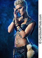 halloween amazon - Portrait of a beautiful female warrior....