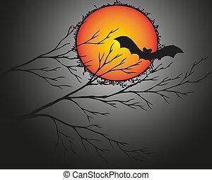 Halloween and dark tree with bat on light red-orange moon. Vector illustration.