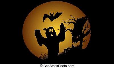 Halloween animation with moon