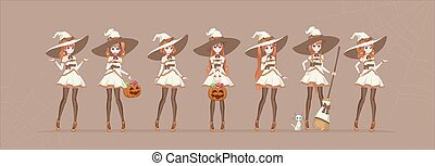 Halloween Anime manga white witch in various poses - Anime ...