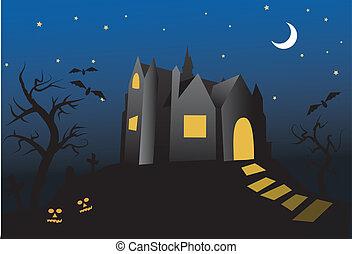 halloween-, antigas, casa assombrada