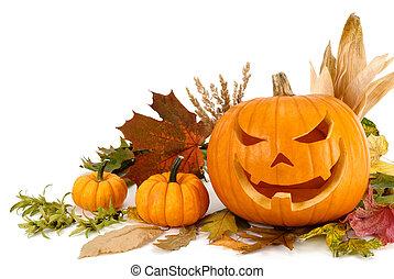 halloween, arreglo, blanco, con, copyspace