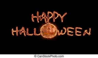 halloween, arrière-plan., hanté, fond, noir, citrouille, heureux