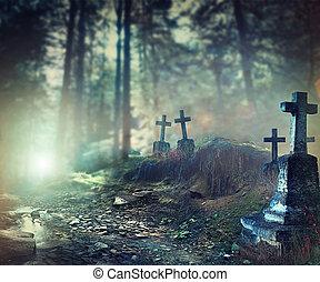 halloween, arte, disegno, fondo., nebbioso, cimitero
