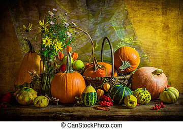 Halloween autumn fall pumpkin setting table still life vintage