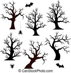 halloween, bäume, fledermäuse, spinnen