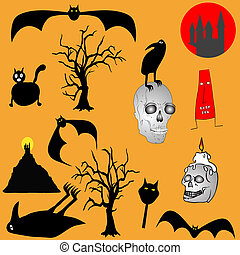 Halloween backgroud - various graph