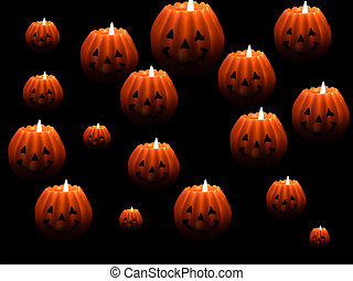 A selection of halloween lanterns against a black background