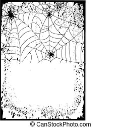 Halloween background card. Web with black spiders