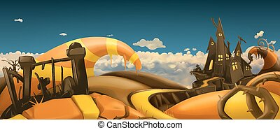 Halloween background. Cartoon landscape panorama. 3d vector...