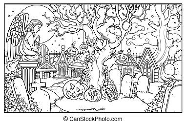 Halloween background cemetery and crypts with statue of an ...