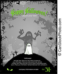 halloween background or party invitation template with cute...