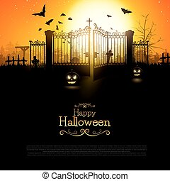 Halloween background with spooky old graveyard