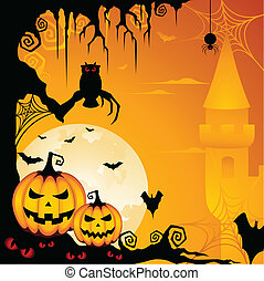 Halloween Background - A spooky illustration with scary...