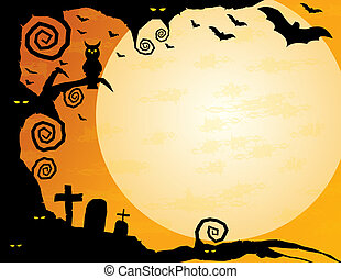 Halloween Background - Gnarled tree with owl, spooky eyes,...