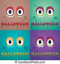 Halloween Background. Flat Halloween monster Icon. Vector, eps10.