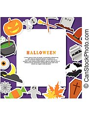 Halloween Background. Flat Icons with Frame.