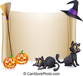 Halloween background scroll sign with witch hat, broomstick, carved orange pumpkins and witch's black cats