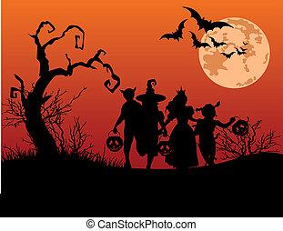 Halloween background - Halloween background with silhouettes...