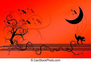Halloween Background - Halloween illustration of trees and ...