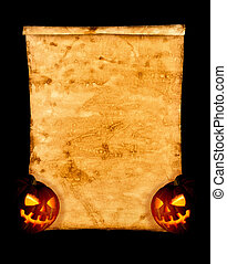 Halloween background. - Halloween. Old paper and pumpkin on...
