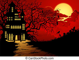 Halloween background with haunted house and cemetery